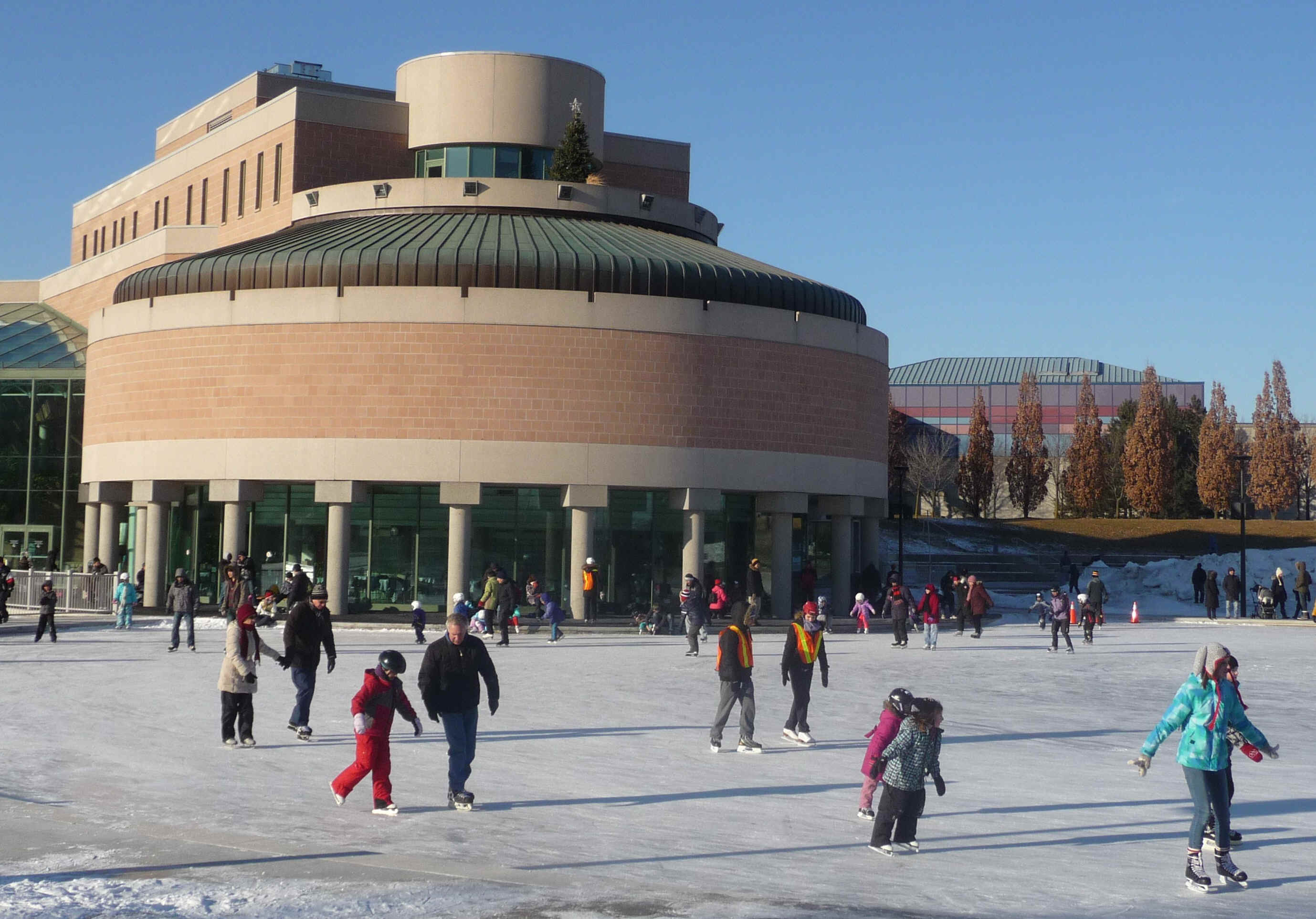 Skating at Markham Civic Centre Outdoor Artificial Skating Rink