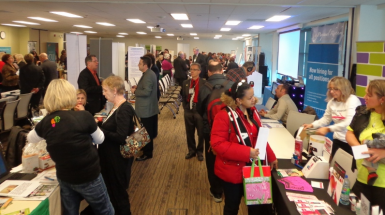 Attendees talked with employers looking to hire at the 2014 CARP Job Fair.