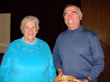 Jennie Trevors winner of the 50/50 draw at Milton pictured with Chapter volunteer Doug Wells
