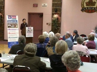 Susan Eng addresses members attending the Edmonton Chapter's Annual General Meeting