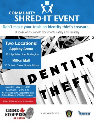 Crime Stoppers Community Shred Event Poster 2014