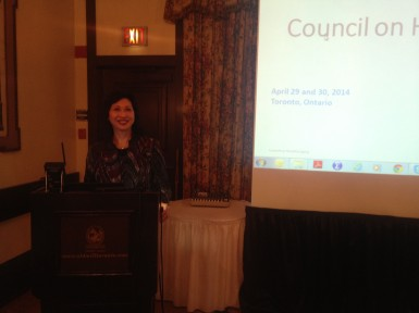 Susan Eng delivers a special address at the Conference Board of Canada/Council of Healthy Aging's Meeting on the importance of financial care
