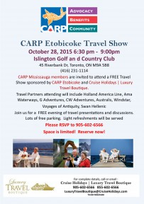 CARP Etobicoke and Cruise Holidays | Luxury Travel Boutique Travel Show