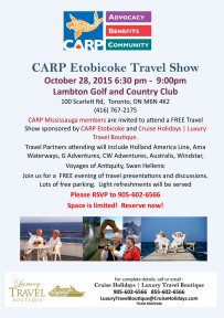 CARP Etobicoke Travel Show Tuesday October 28