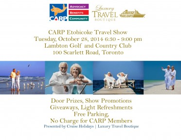 CARP Mississauga invited to Free Travel Show