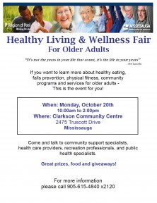 Healthy Living and Wellness Fair Monday October 20