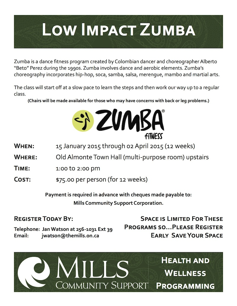 Poster Low Impact Zumba January 2015 ALMONTE