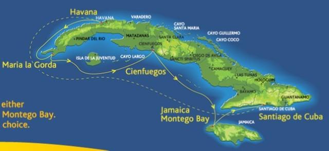 CARP Cuba Cruise Itinerary Map