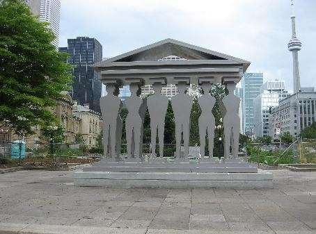 Pillars of Justice sculpture in front of Toronto Courthouse