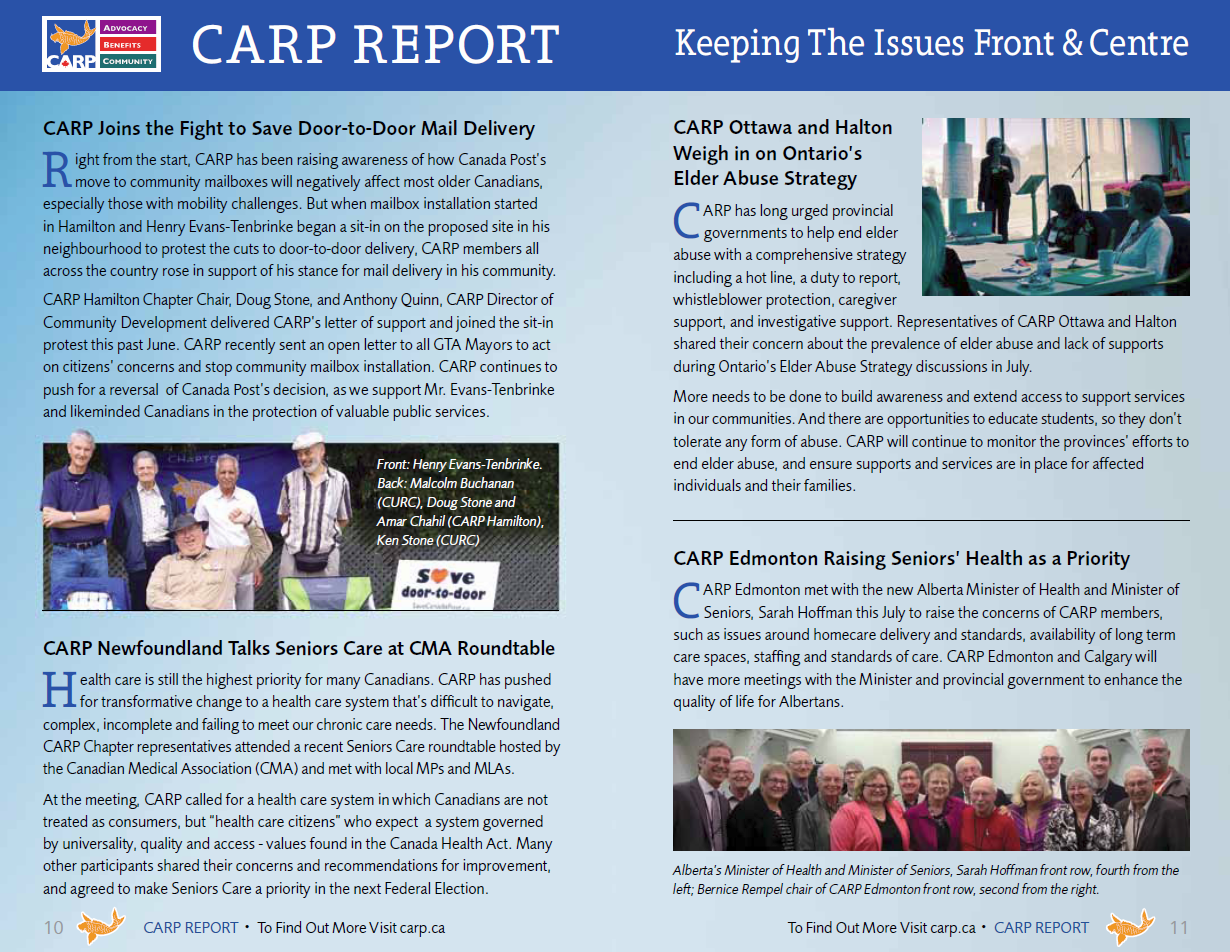 CARP Report Insurance - Keeping Issues Front & Centre