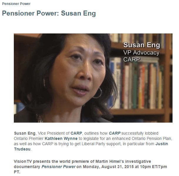Pensioner Power interview with Susan Eng, host Martin Himel August 20, 2015