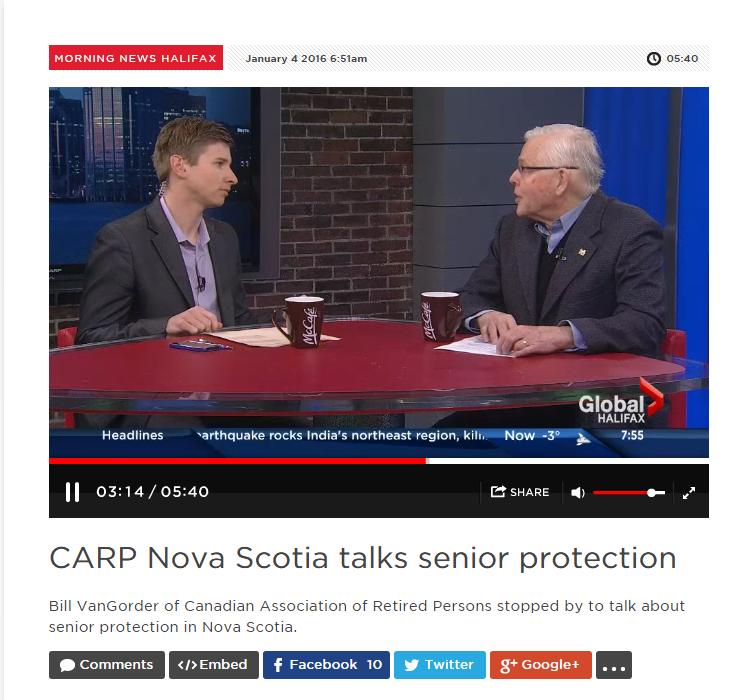 CARP Nova Scotia talks seniors protection, January 4, 2016