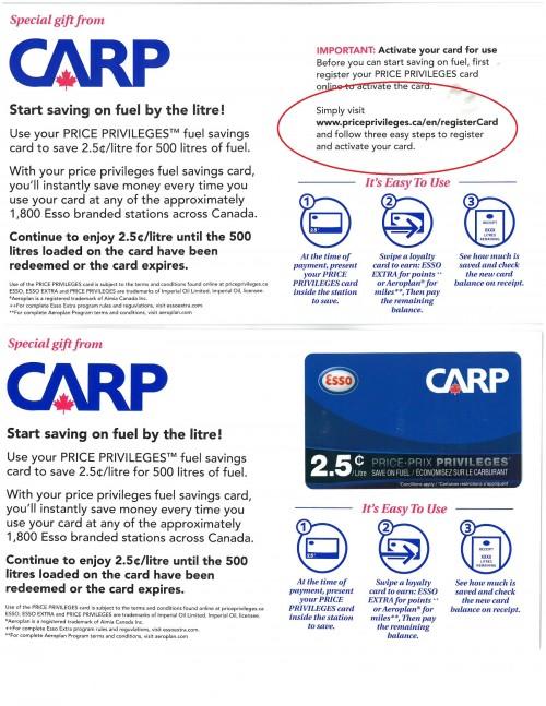 Esso CARP Card Carrier
