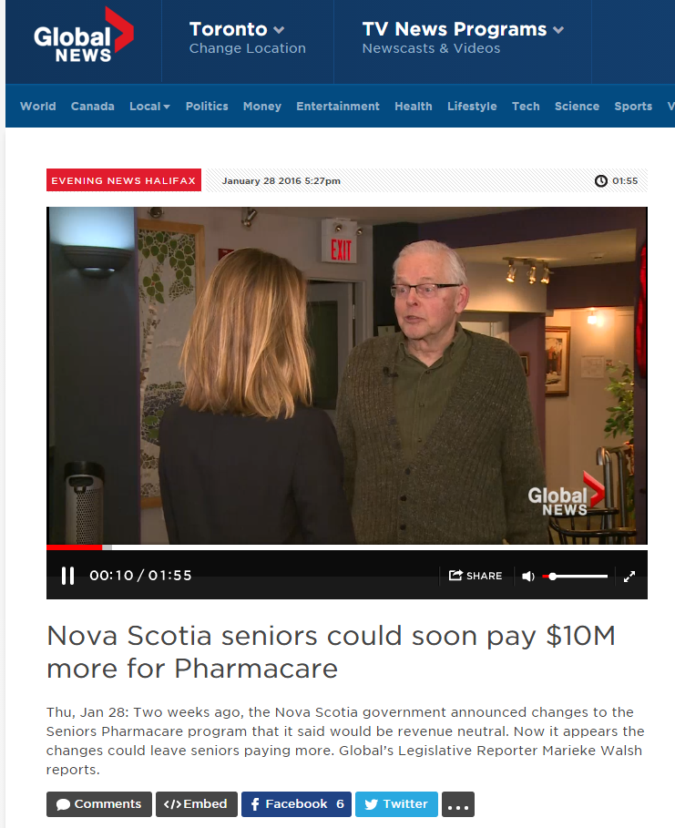 Nova Scotia seniors could soon pay $10 million more for Pharmacare