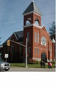 Shakespeare Presbyterian Church at the major intersection.