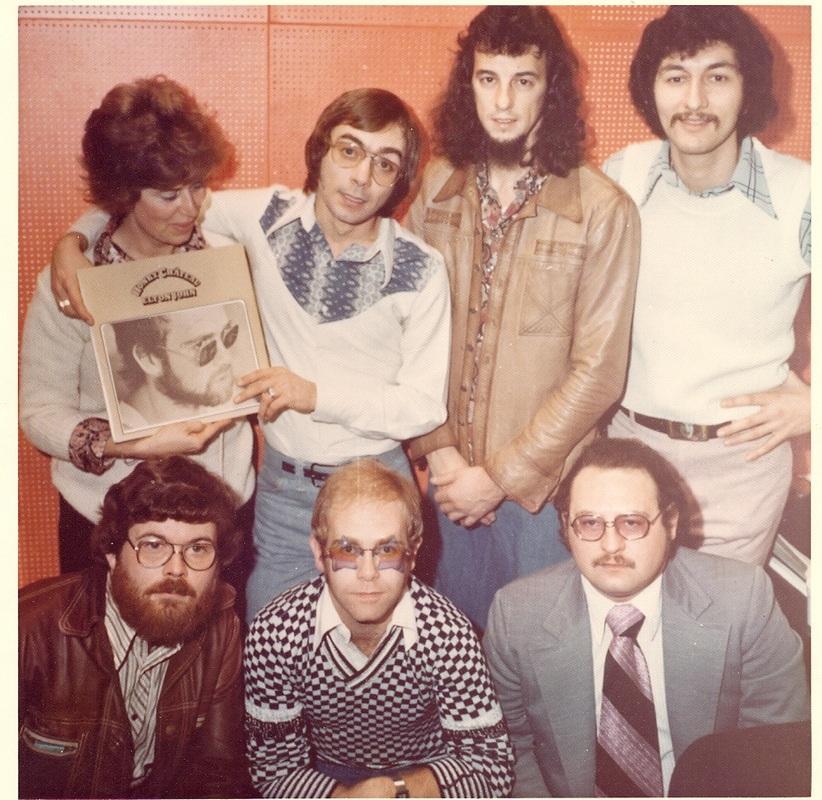 CKLW 1974. Rosalie Trombley, Bill Gable, Ted Richards, Pat Holiday, Bob Moody with Elton John.