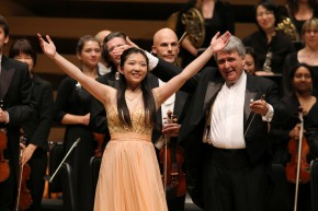 Yang Liu with Maestro Kerry Stratton of the New Classical FM