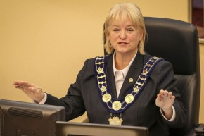 Brampton Mayor Susan Fennell is asked to explain why she has a $23,500 car allowance and a city-leased $90,000 Lincoln Navigator SUV during the council meeting in Brampton