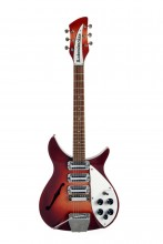 """This undated photo provided by Julien's Auctions shows a 1964 Rose-Morris Rickenbacker electric guitar, nicknamed """"The Beatle Backer,"""" owned by Beatle John Lennon and later given to Ringo Starr. More than 800 items owned by Starr and his wife, Barbara Bach, are going to auction. The unprecedented number of Beatles-owned objects will be offered Dec. 4-5, 2015, at Julien's Auctions in Beverly Hills, Calif. (Julien's Auctions via AP)"""