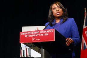 CANADA, Toronto: To get citizens saving for their golden years, Ontario's Liberal government tabled legislation to create a mandatory provincial pension plan, announced by the province's Finance Minister Charles Sousa and associate minister of finance Mitzie Hunter at a press conference in Ontario's legislature buildings on December 8, 2014. (ALEX GUIBORD/CP)