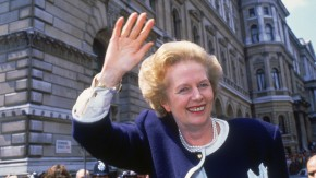 British Prime Minister Margaret Thatcher outside 10 Downing Street, London, on general election day, 11th June 1987. The vote resulted in the third consecutive victory for Thatcher's Conservative Party. (Photo by Fox Photos/Hulton Archive/Getty Images)