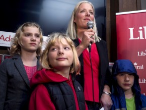 OTTAWA, Ont. (19/8/15)Ñ Catherine McKenna delivers a proud victory speech to loyal supporters at the Clockhouse Brew Pub in Ottawa on the eve of Canada's federal election, October 20, with her three children proudly at her side. McKenna won a tight race against the NDP's hugely popular former MP Paul Dewar and claimed the central Ottawa riding. Photo by Hannah Lawson