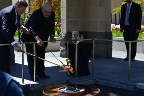Mayor Tory and Father Lombardo light the Flame of Pace