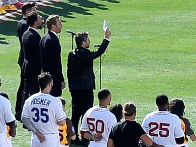 SAN DIEGO, CA - JULY 12: The Tenors, musicians based in British Columbia, perform 'O Canada' prior to the 87th Annual MLB All-Star Game at PETCO Park on July 12, 2016 in San Diego, California. (Photo by Denis Poroy/Getty Images) ORG XMIT: 634458327